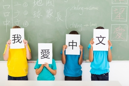 21191567 - group of primary school students holding paper saying i love chinese